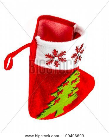 Red Santa stocking isolated on white background