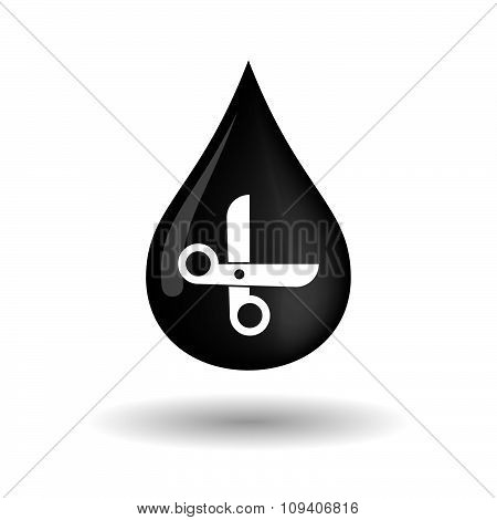 Vector Oil Drop Icon With A Scissors