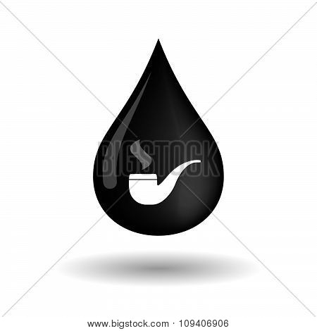 Vector Oil Drop Icon With A Smoking Pipe