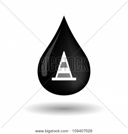 Vector Oil Drop Icon With A Road Cone