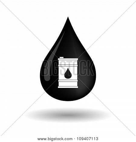 Vector Oil Drop Icon With A Barrel Of Oil
