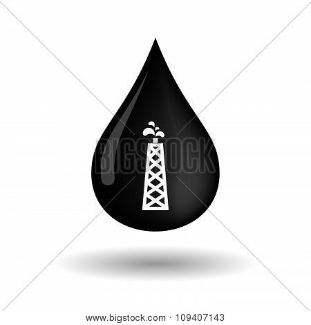 Vector Oil Drop Icon With An Oil Tower