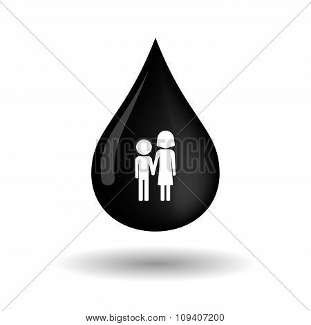 Vector Oil Drop Icon With A Childhood Pictogram