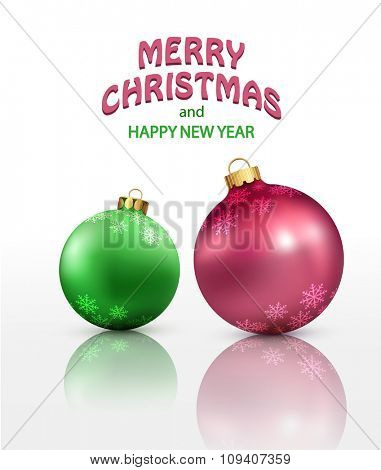vector christmas background with two isolated balls