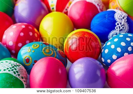 Multi-color painted Easter eggs background