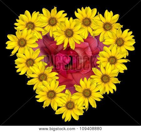 Heart Of Yellow Flowers Of Decorative Sunflowers Helinthus And Red Rose Inside Isolated On Black