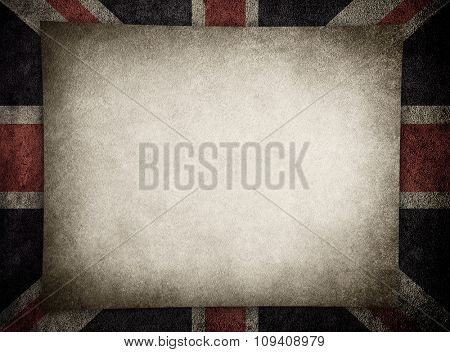 grunge paper with england flag background