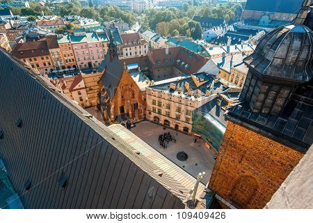 Aerial view on square near Marys Basilica