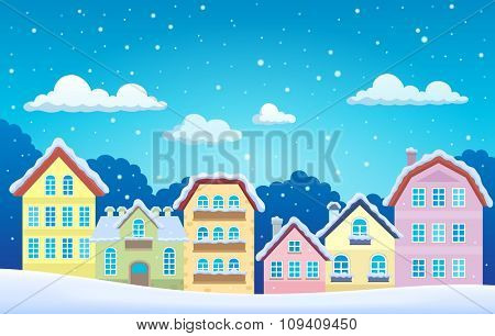 Stylized town in winter - eps10 vector illustration.