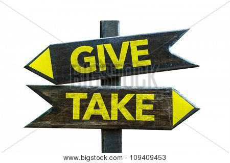 Give - Take signpost isolated on white background