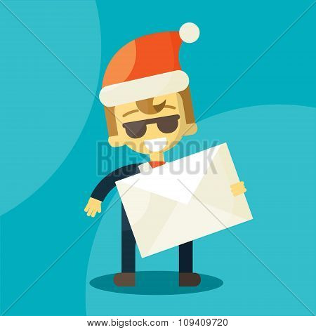 Happy businessman in Santa Claus hat. Letter