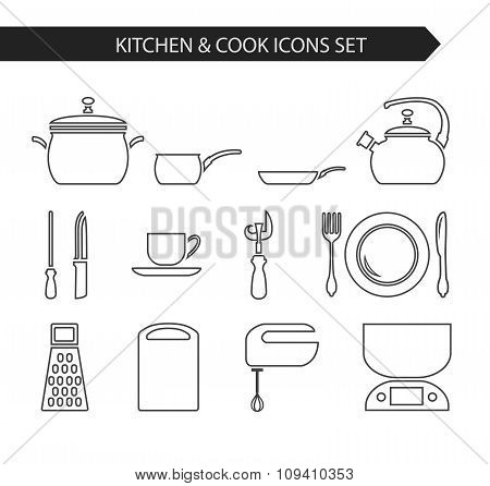 Thin line kitchen and cook icon