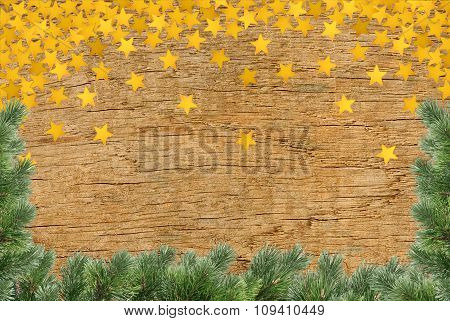 Vintage Christmas Background - Old Planked Wood Board With Pine Tree Branch And Golden Star
