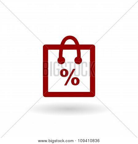 Color Percentage Shop Line Icon