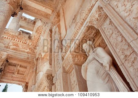 Ceiling Of Historical Celsus Library Of Ephesus City With Antique Sculpture
