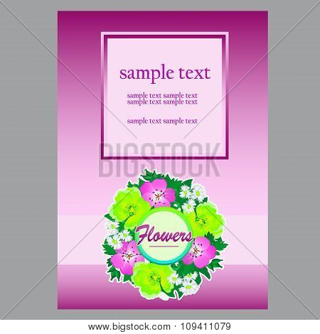 Floral card in gentle tones with wreath and space for your text