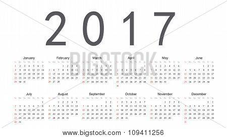 European 2017 Year Vector Calendar
