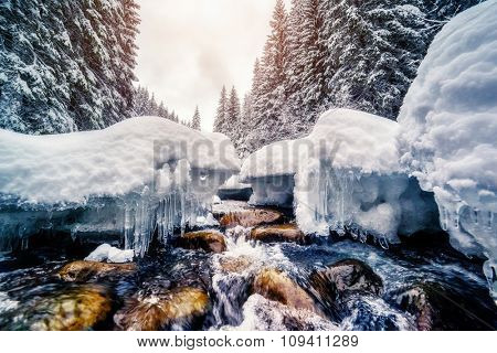 Miracle river at sunlight in the morning. Dramatic and picturesque wintry scene. Location Carpathian, Ukraine, Europe. Beauty world. Instagram toning effect. Glowing filter. Happy New Year!