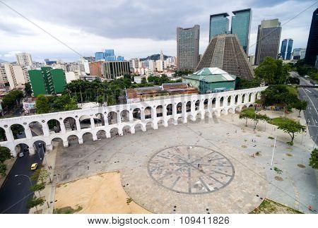 RIO DE JANEIRO, BRAZIL - CIRCA NOVEMBER 2015: Aerial view of the Lapa Archs in Rio de Janeiro, Brazil
