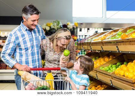 Smiling family behind their trolley at supermarket
