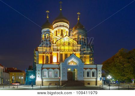 Alexander Nevsky Cathedral at night in Tallinn