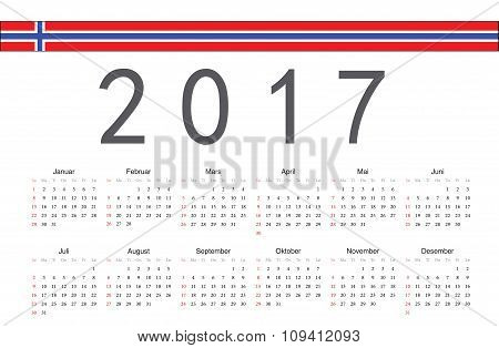 Norwegian 2017 Year Vector Calendar