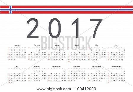 Norwegian 2017 Year Vector Calendar