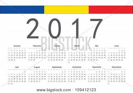 Romanian 2017 Year Vector Calendar