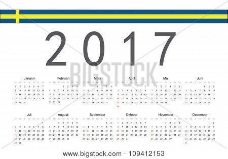 Swedish 2017 Year Vector Calendar