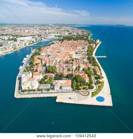 Aerial view of the city of Zadar in Croatia.