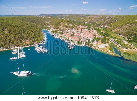 Old town of Skradin at estuary of the Krka river, Croatia