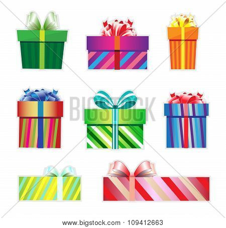 Icon Set Of Colorful Gift Boxes.