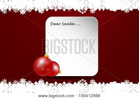 Christmas Card With Inscription Dear Santa