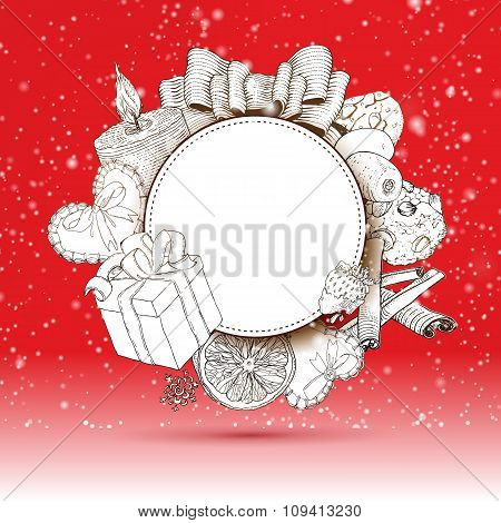 Vintage Christmas gifts label at Red backdrop