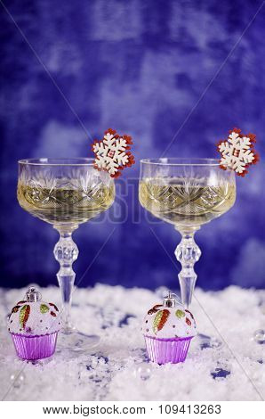 Clock, Champagne Glasses, Snowflakes, Muffins And Eur 50 Banknotes.