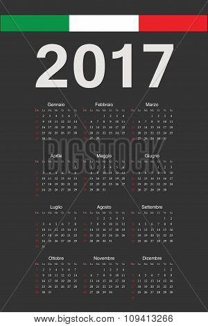 Italian Black 2017 Year Vector Calendar