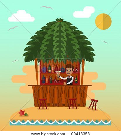 bar on tropical beach.