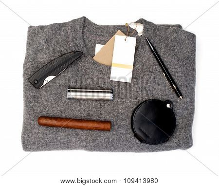 Grey Sweater With Goods Over White