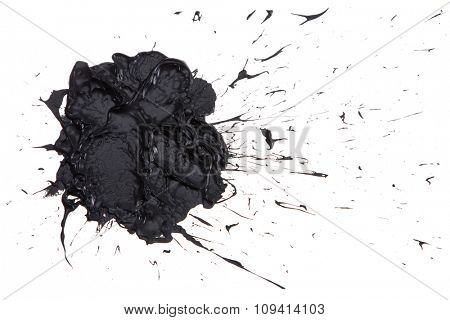 Black paint blot isolated on the white background
