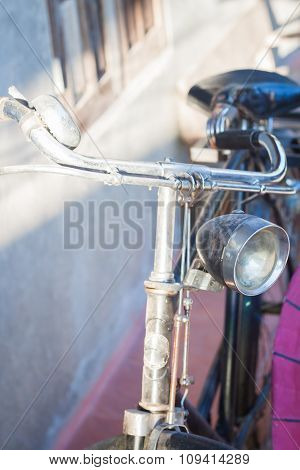 Vintage Bicycle Handlebars With Gray Background