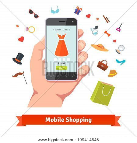 Woman mobile online shopping