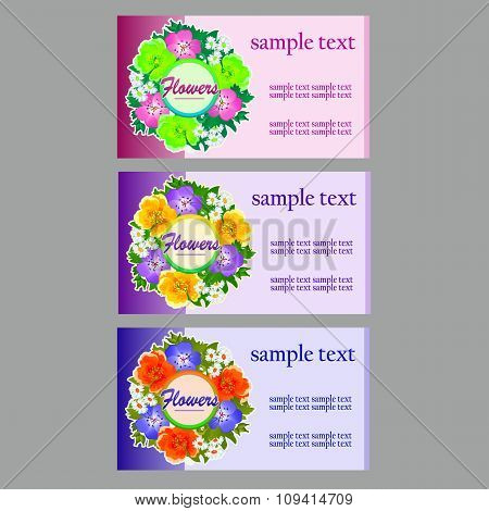 Three flower business cards, name cards, coupon, invitation