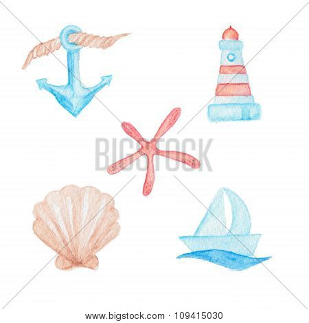 Anchor, Boat,lighthouse, Seashell And Starfish Maritime Drawing