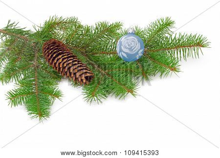 Branch Of A Fir Tree And Christmas Ornaments