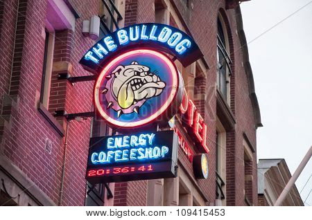 AMSTERDAM-APRIL 27: Amsterdam Bulldog coffeeshop sign-board in red-light district on April 272015 the Netherlands.