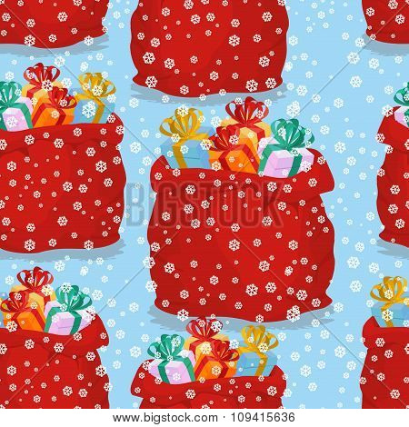 Bag With Gifts Seamless Pattern. Christmas Background Red Sack Santa Claus. Snowfall And Holiday Tex
