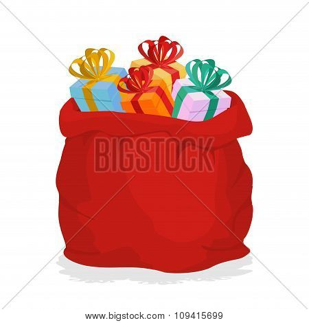Red Sack Santa Claus With Gifts. Holiday Outdoor Gift Bag With Boxes. Christmas Accessory. New Year