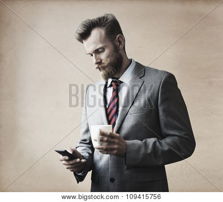 Businessman Thinking Break Using Smart Phone Concept