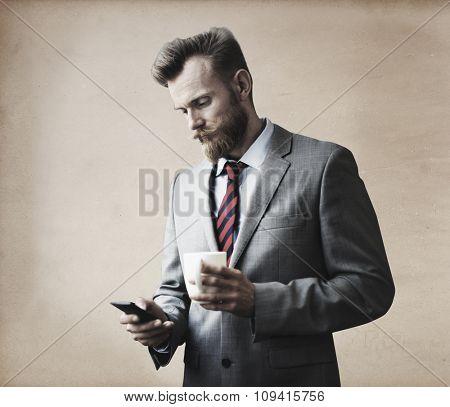 Businessman Thinking Break Using Smart Phone Concept
