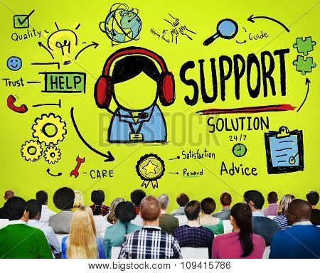 Support Solution Advice Help Quality Care Team Concept